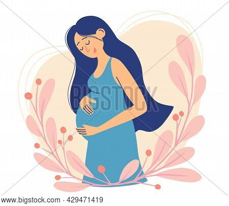Happy Pregnant Woman. Cute Female Character. Decorated Beautiful Leaves. Happy Pregnancy. Modern Ban