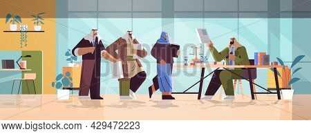 Arab People Visiting Lawyer Office For Signing And Legalization Documents Stamping Legal Document No
