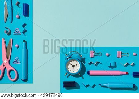 Top View Photo Of Ordered Composition Bicolor Blue And Pink School Accessories Stationery Markers Bi
