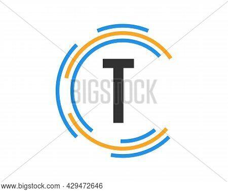 Technology Logo Design With T Letter Concept. T Letter Technology Logo