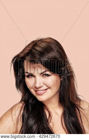 Portrait Of Attractive Charming Girl Flirting On Color Background, The Stereotypes Are Strong, Weste