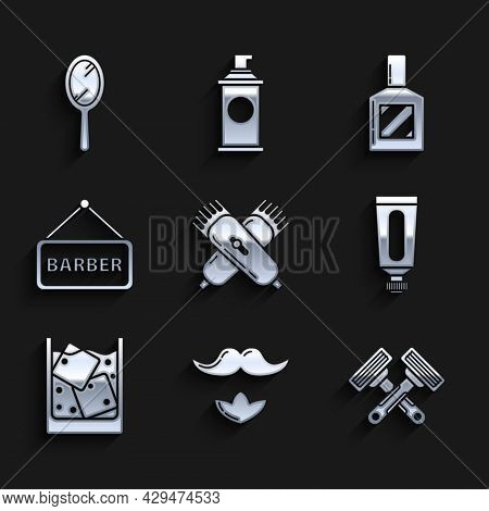 Set Crossed Electrical Hair Clipper Or Shaver, Mustache And Beard, Shaving Razor, Cream Lotion Cosme
