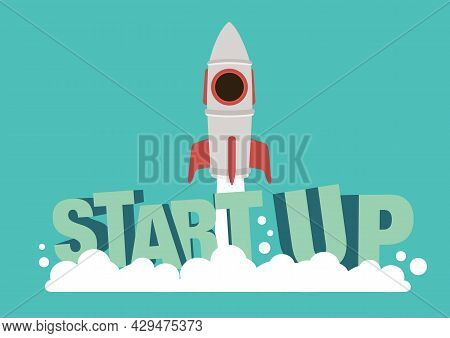 Rocket Ship Launching With Start Up Concept. Concept Of Business Start Up Product On A Market. Vecto