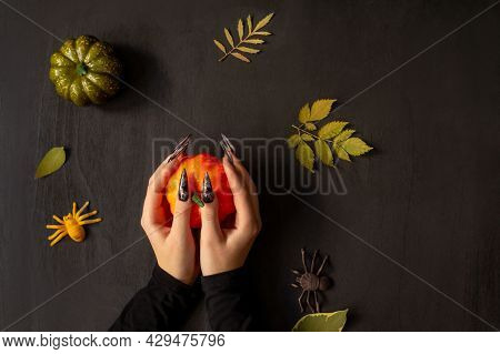 Halloween Nail Art Design, Hands And Decorations.