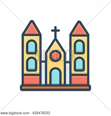 Color Illustration Icon For Church Holy Place Stead Collocation Religion Worship Sacred