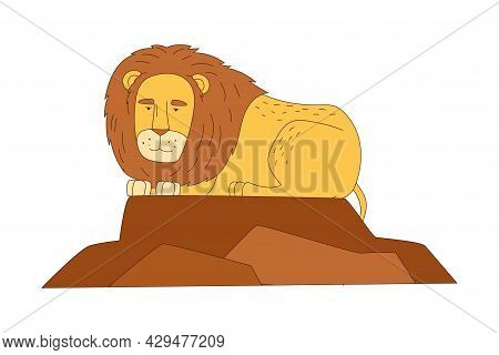 Lion With Thick Mane As African Animal Vector Illustration