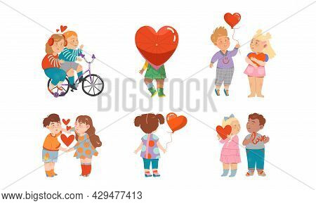 Little Boy And Girl Feeling Love And Affection Holding Heart Balloon And Riding Bicycle Vector Set