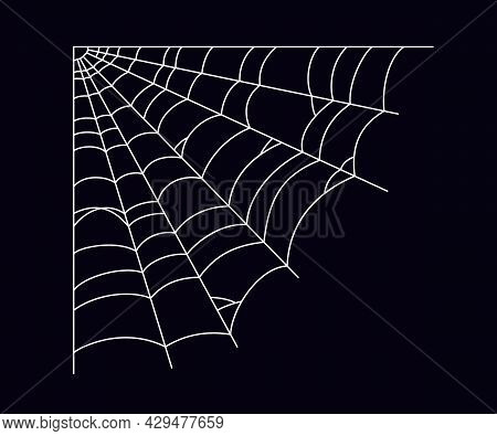 Scary Spider Web In The Corner. White Cobweb Silhouette Isolated On Black Background. Hand Drawn Spi