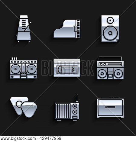 Set Vhs Video Cassette Tape, Radio With Antenna, Guitar Amplifier, Home Stereo Two Speakers, Pick, D
