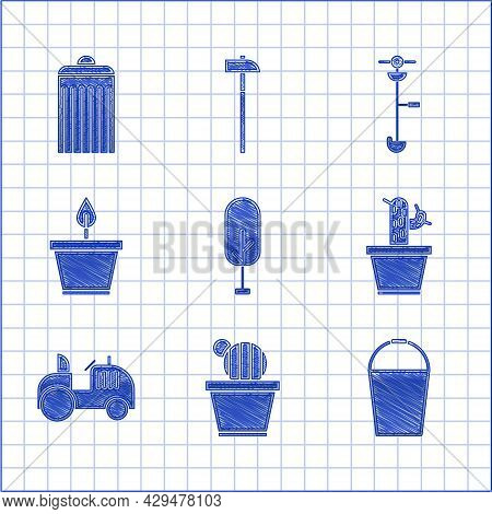 Set Tree, Cactus And Succulent In Pot, Bucket, Tractor, Plant, Grass Weed Electric String Trimmer An