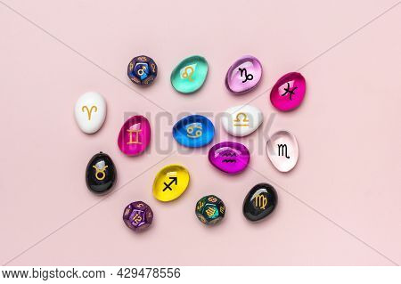 Bright Colored Rainbow Crystal Layout On Pink Background Reiki Alternative Medicine Concept Top View