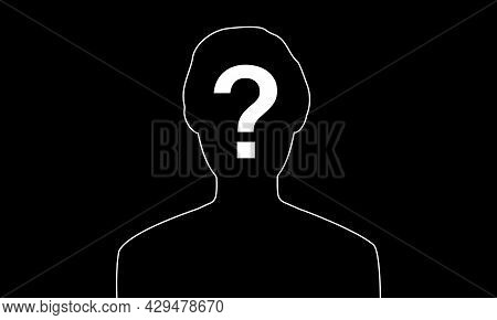 Anonymous Male Profile , Silhouette Avatar Unknown Person. Vector Illustration, Glyph Flat Icon
