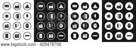 Set Exclamation Mark In Triangle, Battery, Ampere Meter, Multimeter, Voltmeter, Electrical Outlet, L