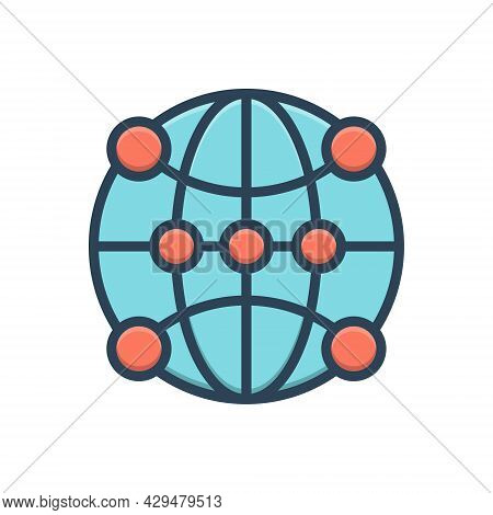 Color Illustration Icon For Global-communication Global-networking Global Communication Tech Digital