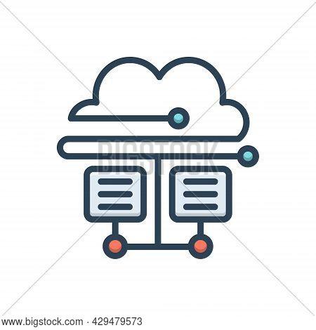 Color Illustration Icon For Cloud-database Cloud Hosting Server Database Storage Technology Connecti