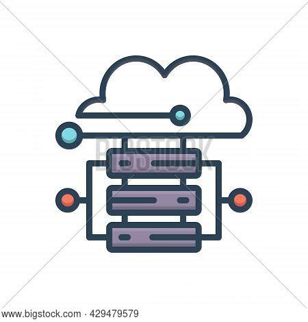 Color Illustration Icon For Cloud-hosting Cloud Hosting Server Database Storage Technology Connectiv