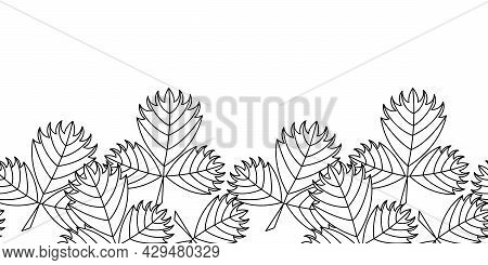 Coloring Book For Older Children And Adults. Seamless Border With Abstract Leaves.