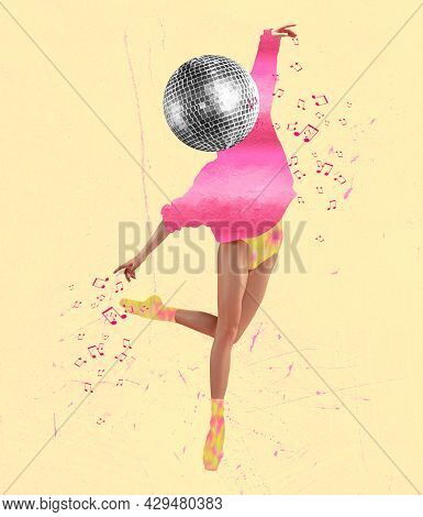 Surrealism. Young Female Dancing Ballerina Headed With Disco Ball In Colored Retro Style Clothes