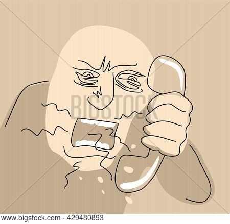Angry Cartoon Boss Screaming To The Phone Headset. Abstract Vector Illustration