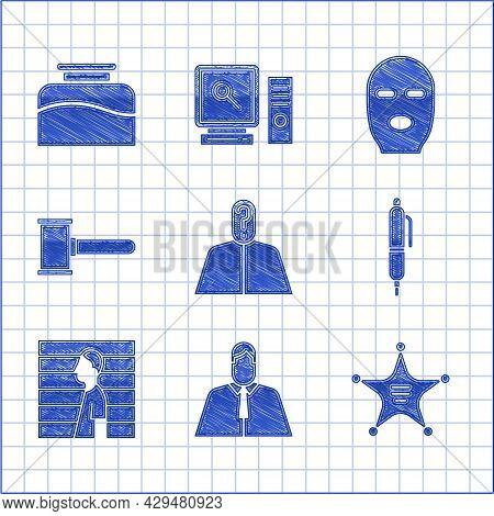 Set Anonymous With Question Mark, Lawyer, Attorney, Jurist, Hexagram Sheriff, Pen, Suspect Criminal,