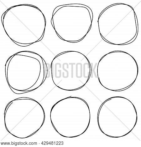 Set Of Sketches Of The Circle Lines The Ring For Drawing Manually. Art Design Round Circular Doodle