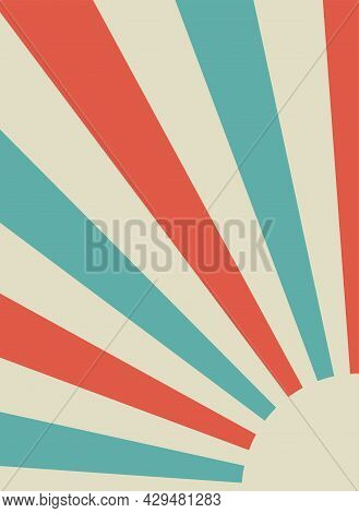 Sunlight Retro Background. Pale Red And Beige Color Burst Background. Fantasy Vector Illustration. M
