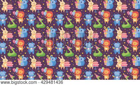 Happy Birthday Pattern, Banner. Cute Animal Lion, Rhino, Koala, Rabbit, Snake. Present Box, Balloons