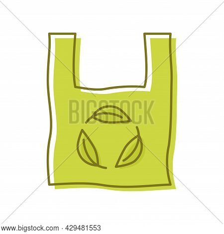 Plastic Bag With Leaf, Icon. Biodegradable, Compostable And Bio Plastic. Eco Friendly Compostable Ma