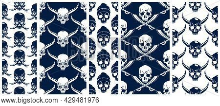 Black Skulls Seamless Vector Background Set, Endless Pattern With Horror Death Sculls, Stylish Wallp