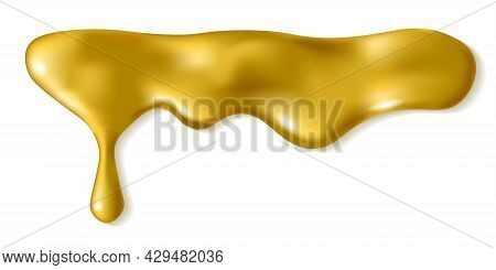 Liquid Gold Drop Isolated On White Background. Melted Golden Icing Or Oil Drip. Realistic 3d Horizon
