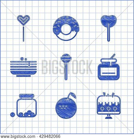 Set Lollipop, Apple, Cake On Plate, Jar Of Honey, Glass Jar With Candies Inside, Stack Pancakes, And