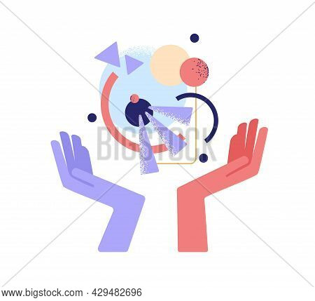 Creativity And Innovation Concept. Human Hands Inventing And Creating Business Model From Abstract F