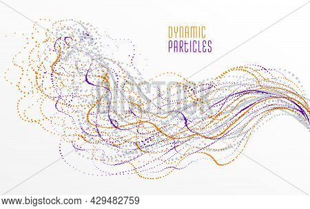 Dots Particles Flowing Array Vector Abstract Background, Biology Science Theme Design, Dynamic Eleme