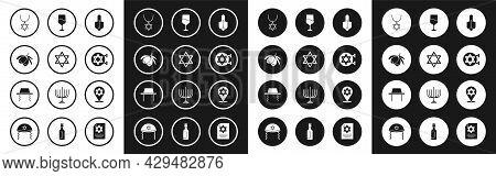 Set Hanukkah Dreidel, Star Of David, Olives Branch, Necklace On Chain, Jewish Synagogue, Goblet, And