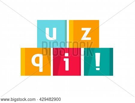 Quiz Logo Icon Vector Text In Cubes Game Symbol Flat Cartoon Illustration, Competition Or Interview