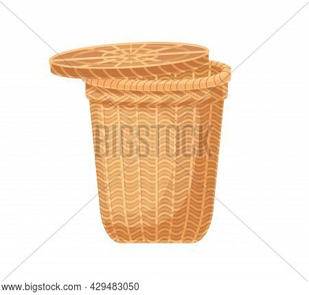 Empty Laundry Basket With Lid. Tall Wicker Container With Cover Made From Rattan. Realistic Flat Vec