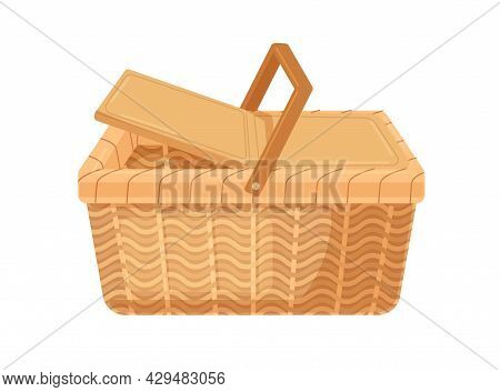 Empty Picnic Basket With Lid And Handle. Woven Wicker Container Made From Straw. Realistic Basketwor