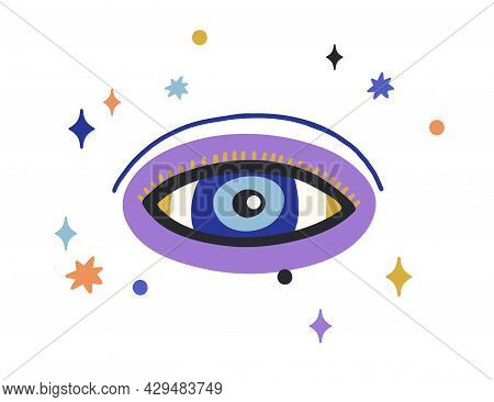 God Eye Of Providence Looking. Magic Esoteric Eyeball With Stars Around. Abstract Sacred Divine All-