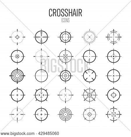 Crosshair, Gun Sight Vector Icons. Bullseye, Black Target Or Aim Symbol. Military Rifle Scope, Shoot
