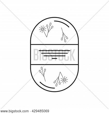 Soap Body Scrub With Inclusions Of Herbs, Grains, Flowers. Icon Of A Black Line On A White Backgroun