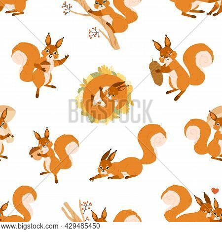 Seamless Pattern With Cute Happy Squirrels On White Background. Endless Repeatable Texture With Ador
