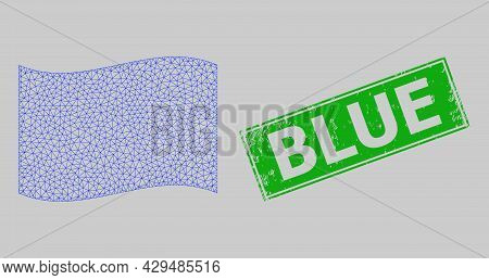 Mesh Polygonal Waving Blue Flag And Distress Blue Rectangle Watermark. Abstraction Is Based On Wavin