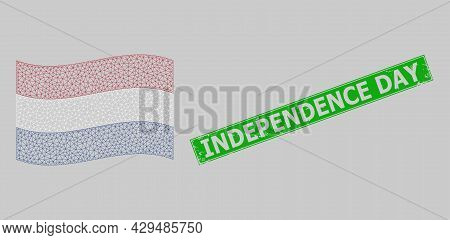 Mesh Polygonal Waving Netherlands Flag And Grunge Independence Day Rectangle Seal. Carcass Model Is