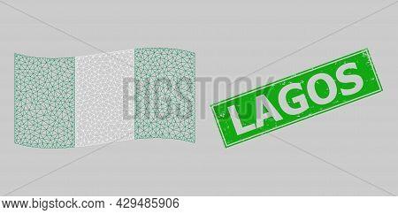 Mesh Polygonal Waving Nigeria Flag And Grunge Lagos Rectangle Seal. Model Is Designed On Waving Nige