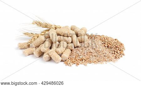 Different Types Of Wheat Bran On White Background