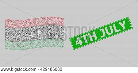 Mesh Polygonal Waving Libya Flag And Distress 4th July Rectangle Stamp. Model Is Designed On Waving
