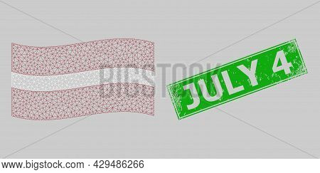 Mesh Polygonal Waving Latvia Flag And Distress July 4 Rectangle Seal. Carcass Model Is Based On Wavi