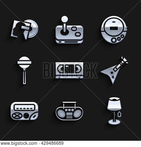 Set Vhs Video Cassette Tape, Home Stereo With Two Speakers, Floor Lamp, Electric Bass Guitar, Pager,