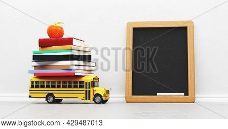 Back to school. Empty blackboard, yellow bus toy and books on white wall 3D illustration