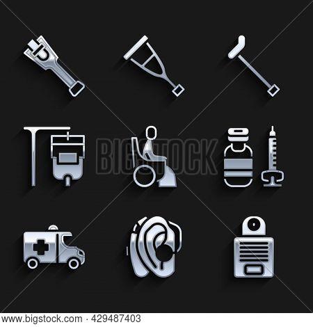 Set Woman In Wheelchair, Hearing Aid, Intercom, Syringe, Emergency Car, Iv Bag, Walking Stick Cane A